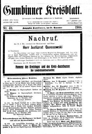 Gumbinner Kreisblatt vom 28.11.1908