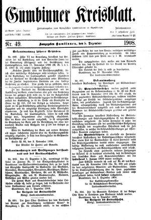 Gumbinner Kreisblatt vom 05.12.1908