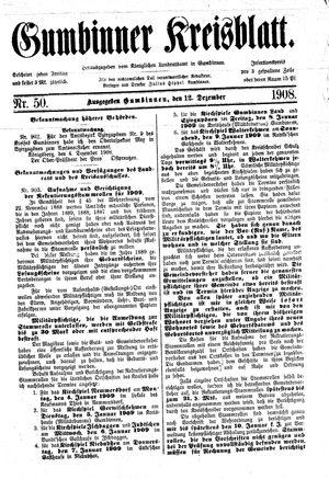 Gumbinner Kreisblatt vom 12.12.1908