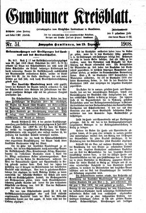 Gumbinner Kreisblatt vom 19.12.1908