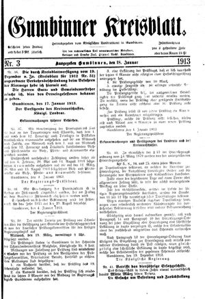 Gumbinner Kreisblatt vom 18.01.1913