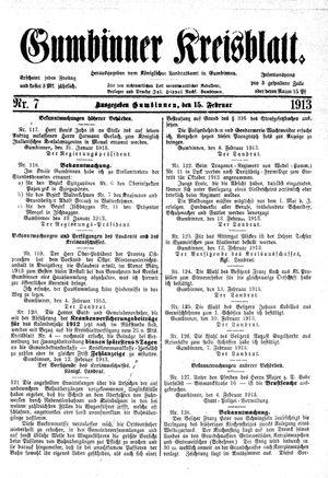 Gumbinner Kreisblatt vom 15.02.1913