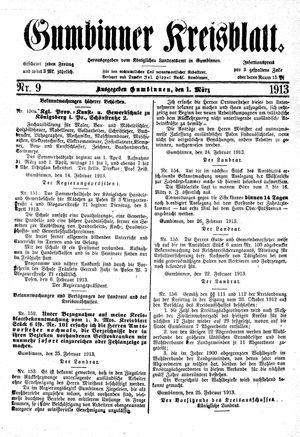 Gumbinner Kreisblatt vom 01.03.1913