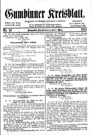 Gumbinner Kreisblatt vom 08.03.1913
