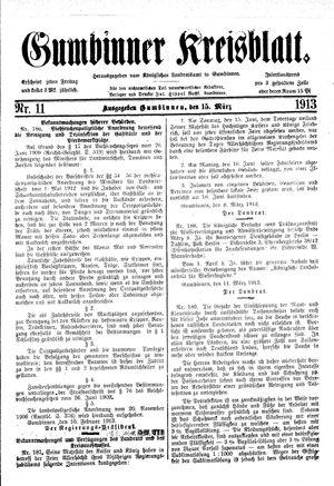 Gumbinner Kreisblatt vom 15.03.1913