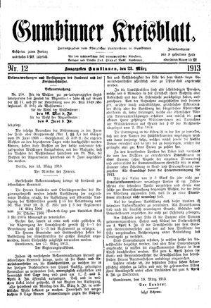 Gumbinner Kreisblatt vom 23.03.1913