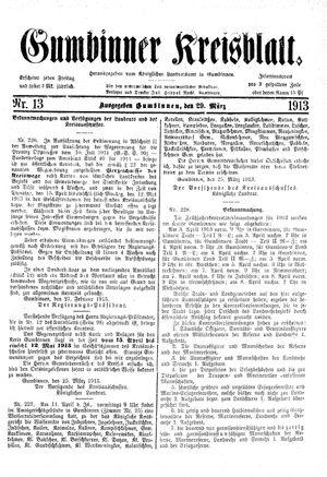 Gumbinner Kreisblatt vom 29.03.1913