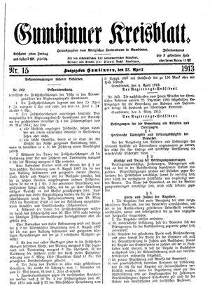 Gumbinner Kreisblatt vom 12.04.1913