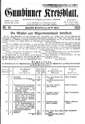 Gumbinner Kreisblatt vom 19.04.1913