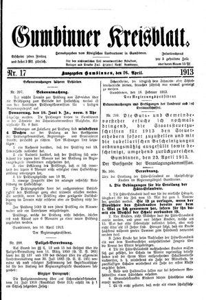 Gumbinner Kreisblatt vom 26.04.1913