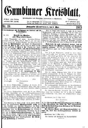 Gumbinner Kreisblatt vom 03.05.1913