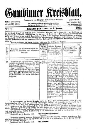 Gumbinner Kreisblatt vom 07.01.1914