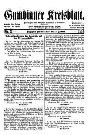 Gumbinner Kreisblatt vom 15.01.1914