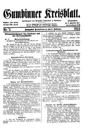 Gumbinner Kreisblatt vom 02.02.1914