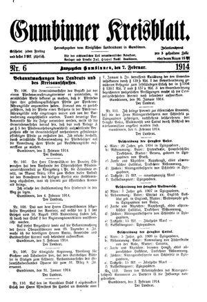 Gumbinner Kreisblatt vom 07.02.1914