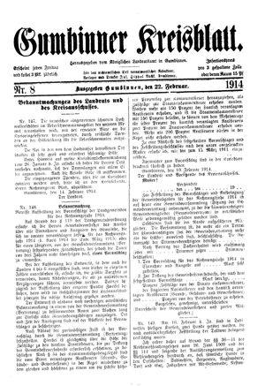 Gumbinner Kreisblatt vom 22.02.1914