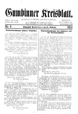 Gumbinner Kreisblatt vom 28.02.1914