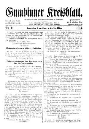 Gumbinner Kreisblatt vom 15.03.1914