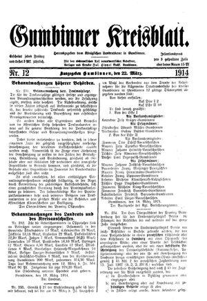 Gumbinner Kreisblatt vom 22.03.1914
