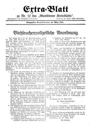 Gumbinner Kreisblatt vom 26.03.1914
