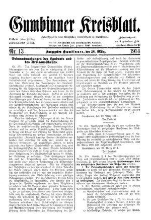Gumbinner Kreisblatt vom 28.03.1914