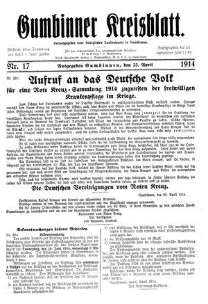 Gumbinner Kreisblatt vom 23.04.1914