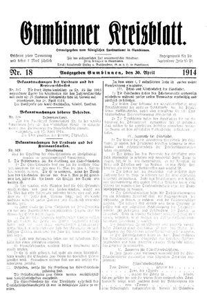 Gumbinner Kreisblatt on Apr 30, 1914