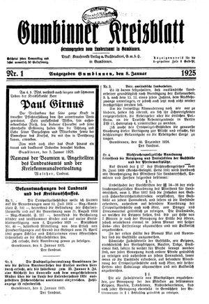 Gumbinner Kreisblatt vom 08.01.1925