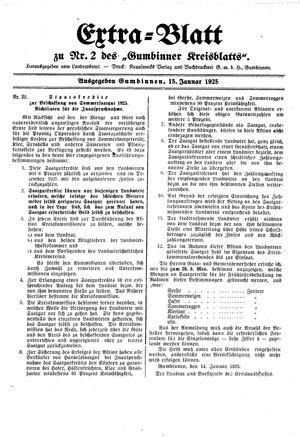 Gumbinner Kreisblatt vom 15.01.1925