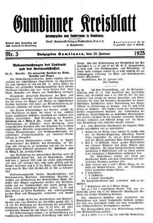 Gumbinner Kreisblatt vom 22.01.1925