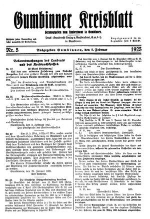 Gumbinner Kreisblatt vom 05.02.1925