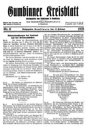 Gumbinner Kreisblatt vom 12.02.1925