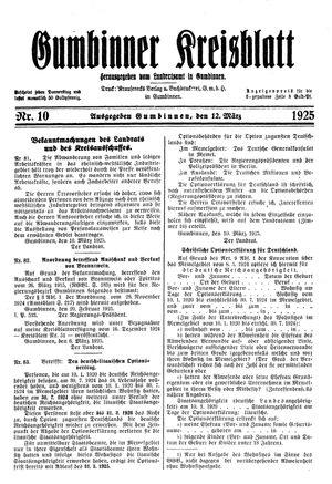 Gumbinner Kreisblatt vom 12.03.1925