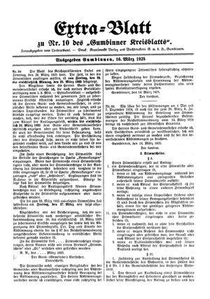Gumbinner Kreisblatt vom 16.03.1925