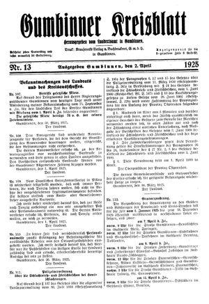 Gumbinner Kreisblatt vom 02.04.1925