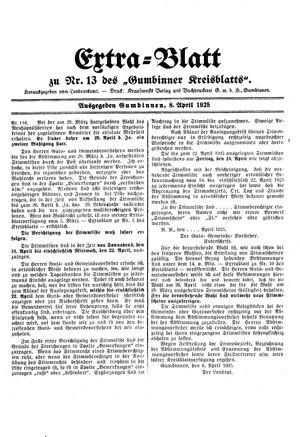 Gumbinner Kreisblatt on Apr 8, 1925