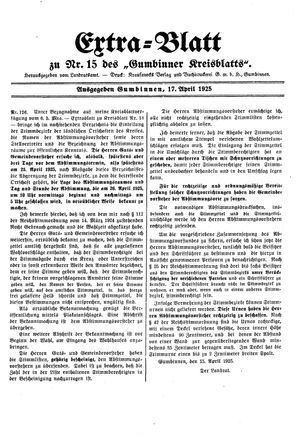 Gumbinner Kreisblatt on Apr 17, 1925