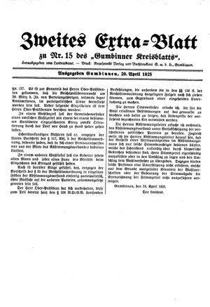 Gumbinner Kreisblatt vom 21.04.1925