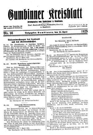 Gumbinner Kreisblatt vom 23.04.1925