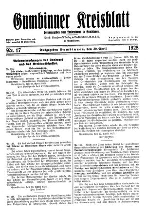 Gumbinner Kreisblatt vom 30.04.1925