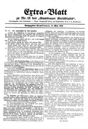 Gumbinner Kreisblatt vom 11.05.1925