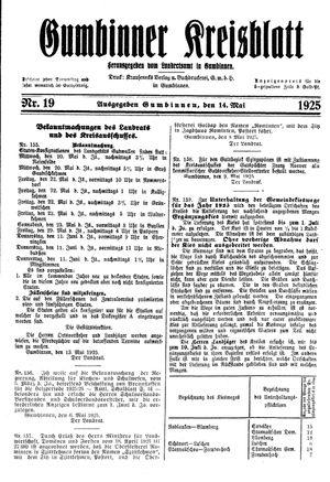 Gumbinner Kreisblatt vom 14.05.1925