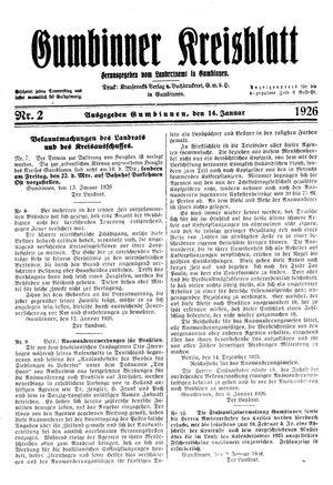 Gumbinner Kreisblatt vom 14.01.1926