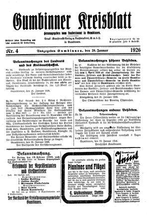 Gumbinner Kreisblatt vom 28.01.1926