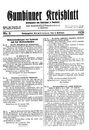 Gumbinner Kreisblatt vom 04.02.1926