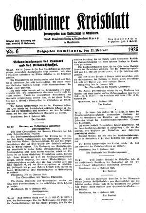 Gumbinner Kreisblatt on Feb 11, 1926