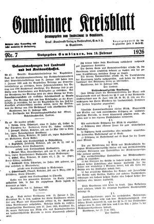 Gumbinner Kreisblatt vom 18.02.1926