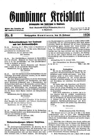 Gumbinner Kreisblatt vom 25.02.1926