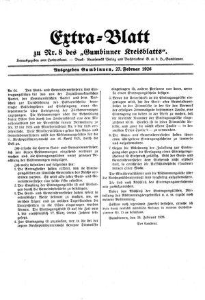 Gumbinner Kreisblatt on Feb 27, 1926