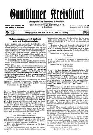 Gumbinner Kreisblatt on Mar 11, 1926